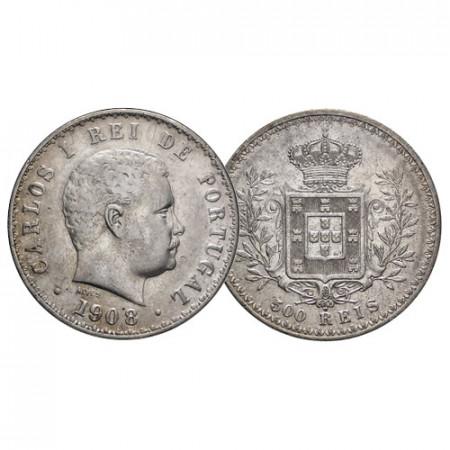 """1908 * 500 Reis Argento Portogallo """"Carlo I - Stemma Coronato"""" (KM 535) BB"""