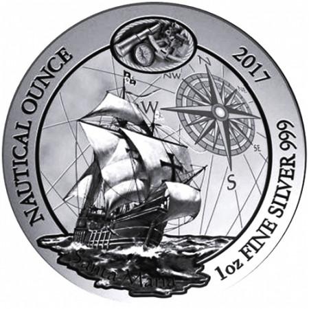 "2017 * 50 RWF Argento 1 OZ Ruanda ""Nautical Ounce - Santa Maria"" FDC"