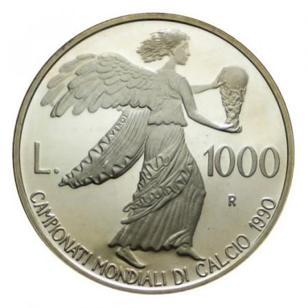 """1990 * 1000 Lire Argento San Marino """"Coppa del Mondo 1990, Italia"""" (KM 247) PROOF"""