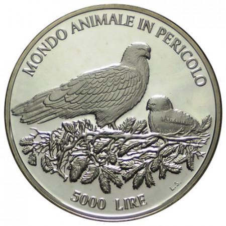 """1996 * 5000 Lire Argento San Marino """"Animali in Via di Estinzione"""" (KM 340) PROOF"""
