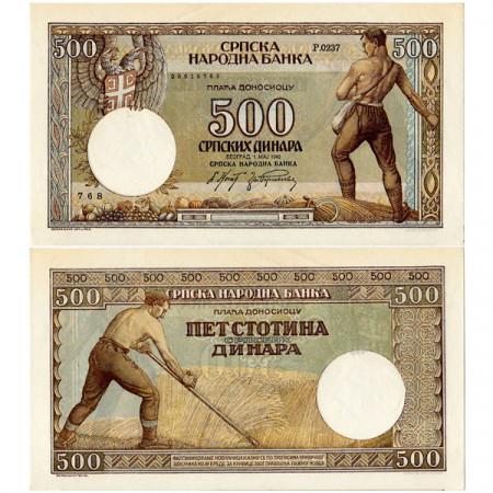 """1942 * Banconota Serbia 500 Dinara """"Occupazione Tedesca"""" (p31) SPL+"""