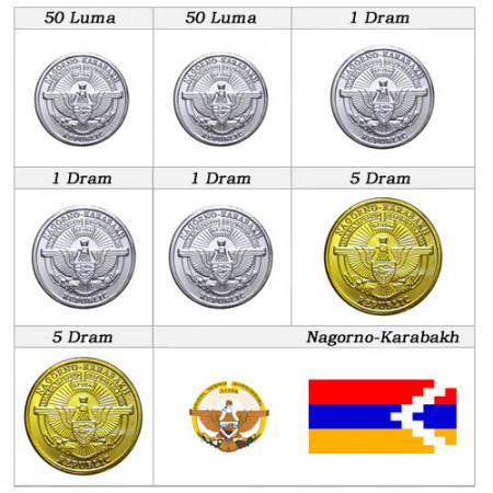 2013 * Serie 7 monete Nagorno Karabakh new design