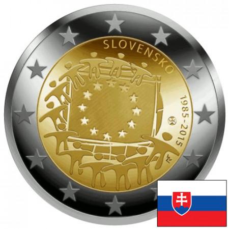 """2015 * 2 Euro SLOVACCHIA """"30º Anniversario della Bandiera Europea"""""""