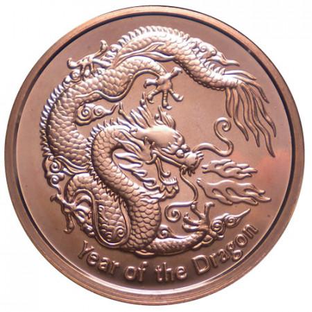 """2012 * Copper Round Stati Uniti Rame """"Anno del Dragone"""""""