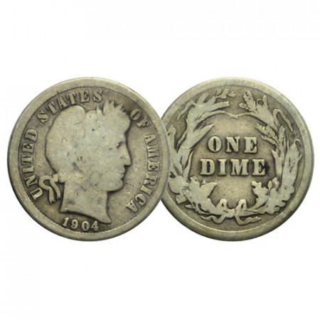 """1904 (P) * 10 Cents (Dime) Dollar Stati Uniti """"Barber Dime"""" (KM 113) MB"""