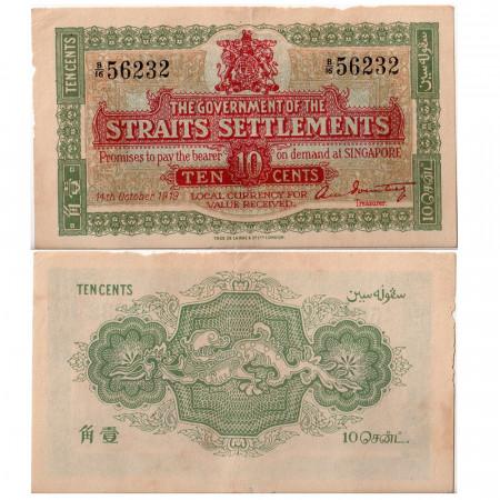 1919 * Banconota Insediamenti dello Stretto 10 centesimi BB+