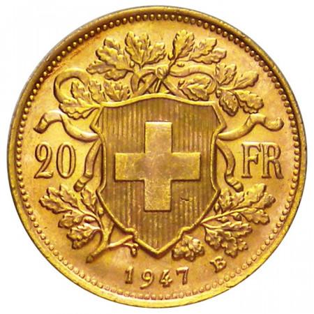 1947 B * 20 franchi Svizzera marengo d'oro Vrénéli