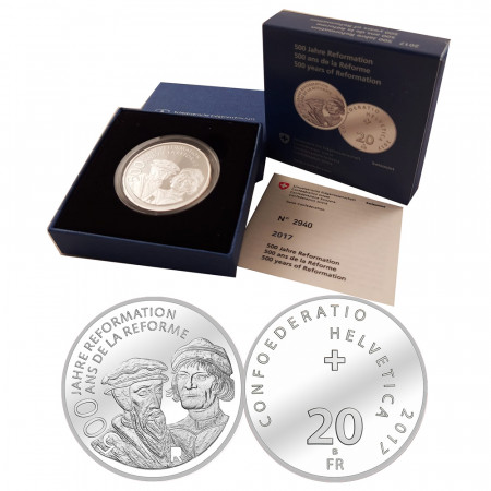 "2017 * 20 Francs Argento Svizzera ""500 years of reformation"" (KM 165) PROOF"