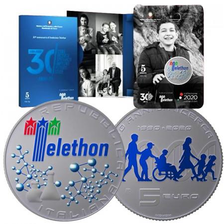 """2020 * 5 Euro Argento ITALIA """"30° Anniversario Fondazione Telethon"""" FDC"""