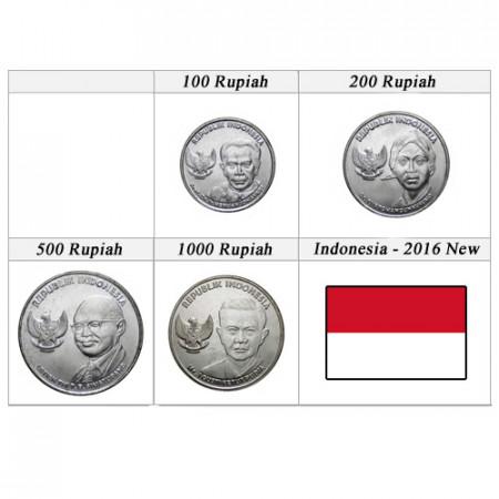 """2016 * Serie 4 Monete Indonesia """"Rupiah - New Design"""" UNC"""