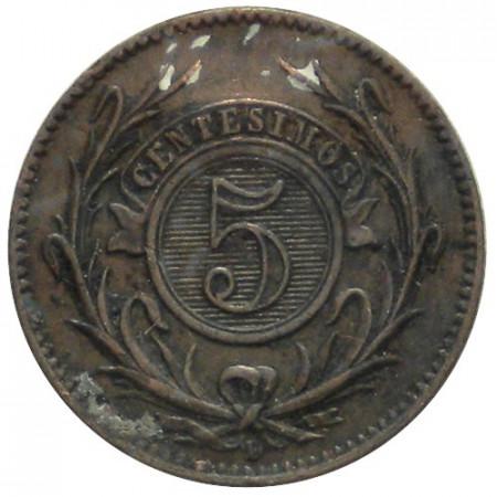 "1857 D * 5 Centésimos de Real Uruguay ""Republica Oriental"" (KM 8) BB+"