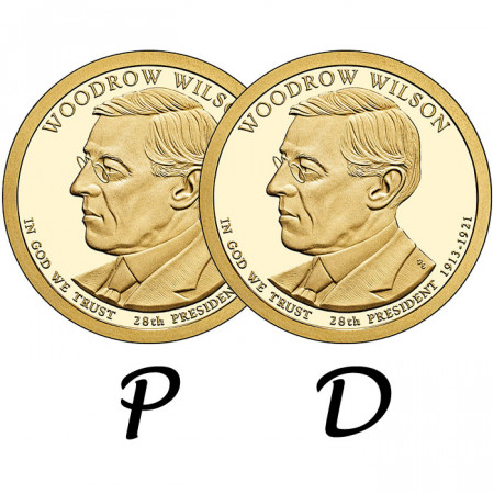 "2013 * 2 x 1 Dollaro Stati Uniti ""Woodrow Wilson - 28th"" P+D"