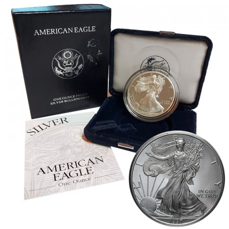 "1997 P * 1 Dollaro Argento 1 OZ Stati Uniti ""Liberty - Silver Eagle - Philadelphia"" PROOF"