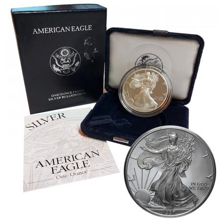 "1997 P * 1 Dollaro Argento 1 OZ Stati Uniti ""Liberty - Silver Eagle - Philadelphia"" PROOF"