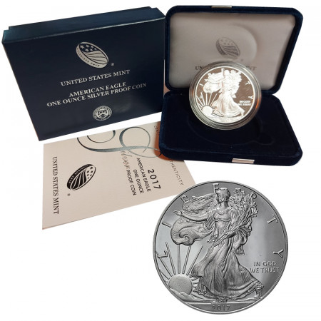 "2017 W * 1 Dollaro Argento 1 OZ Stati Uniti ""Liberty - Silver Eagle - West Point"" PROOF"