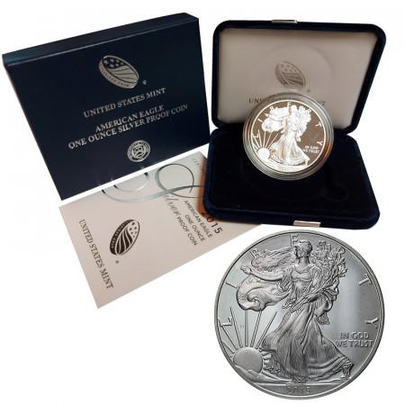 "2015 W * 1 Dollaro Argento 1 OZ Stati Uniti ""Liberty - Silver Eagle - West Point"" PROOF"