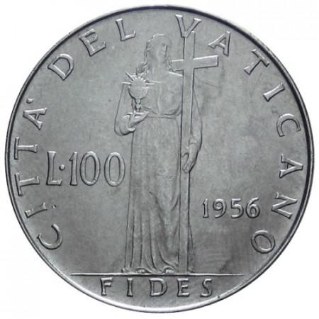 """1956 * 100 Lire Vaticano Pio XII """"Fides"""" FDC"""