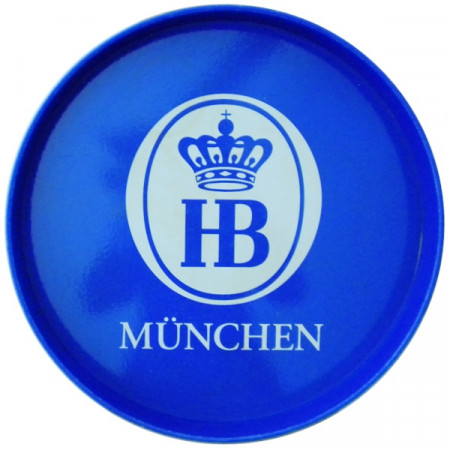"Vassoio * Hofbräuhaus Birra Plastica Tondo Blu ""Logo HB"" Pubblicità Vintage"