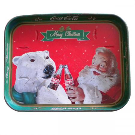 """Vassoio * Coca Cola Metallo Rettangolare Rosso """"Natale - Orso Polare"""" Pubblicità Vintage"""