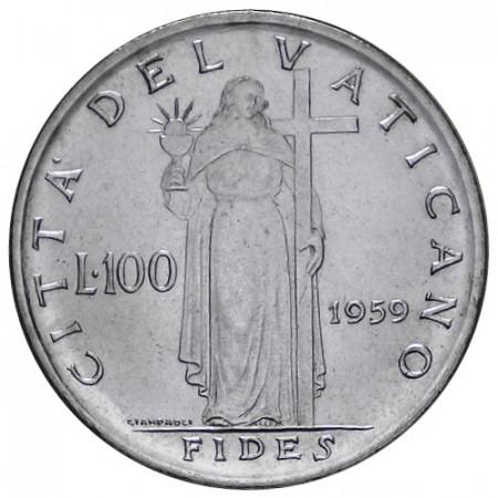 """1959 * 100 Lire Vaticano Giovanni XXIII """"Fides"""" Anno I (KM 64.1) FDC"""