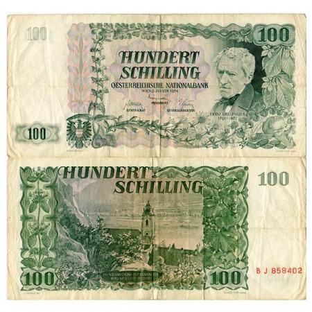 "1954 * Banconota Austria 100 Schilling ""F Grillparzer"" (p133a) BB"