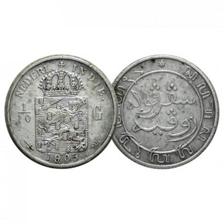 1905 (u) * 1/10 Gulden Argento Indie Orientali Olandesi - Netherlands East Indies (KM 309) SPL