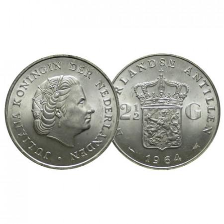 "1964 * 2-1/2 (2,5) Gulden Argento Antille Olandesi ""Juliana"" (KM 7) FDC"