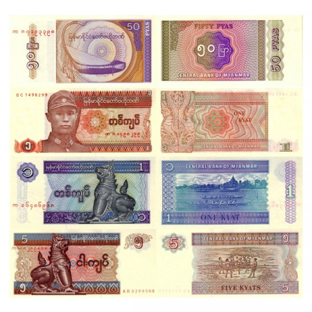 "1990-96 * Set 4 Banconote Myanmar (Birmania) 1, 5, 10 Kyats ""1990-96 Issue"" (p67, 68, 69, 70) FDS"