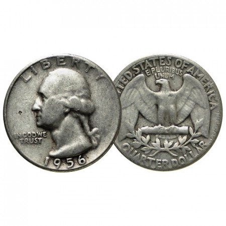 "1956 (P) * Quarto di Dollaro (25 Cents) Argento Stati Uniti ""Washington Quarter"" (KM 164) MB"