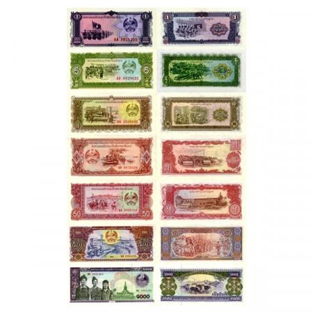 """Mix * Set 7 Banconote Laos 1 -> 1000 Kip """"Peoples Democratic Republic"""" (p25->29, 31, 32A) FDS"""