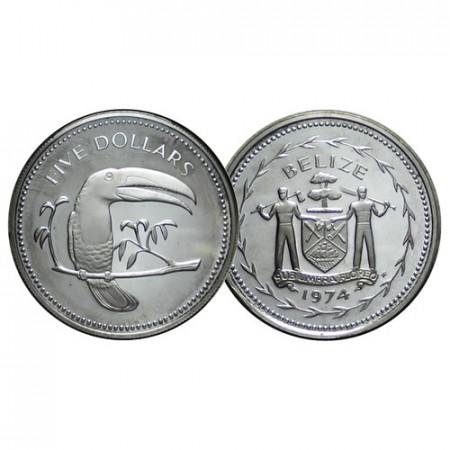 """1974 * 5 Dollars Belize """"Keel-Billed Toucan"""" (KM 44a) PROOF"""