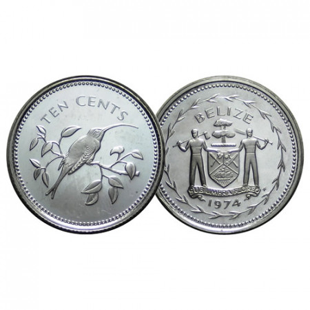 """1974 * 10 Cents Belize """"Long-Tailed Hermit"""" (KM 40a) PROOF"""
