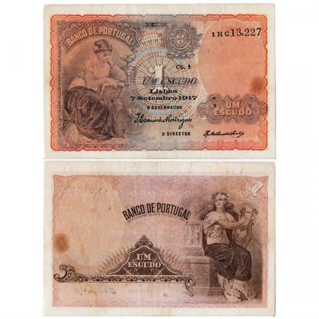"""1917 * Banconota Portogallo 1 Escudo """"Allegorical Woman"""" (p113a) BB"""