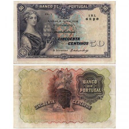 """1918 * Banconota Portogallo 50 Centavos """"Justicia"""" (p112b) BB"""