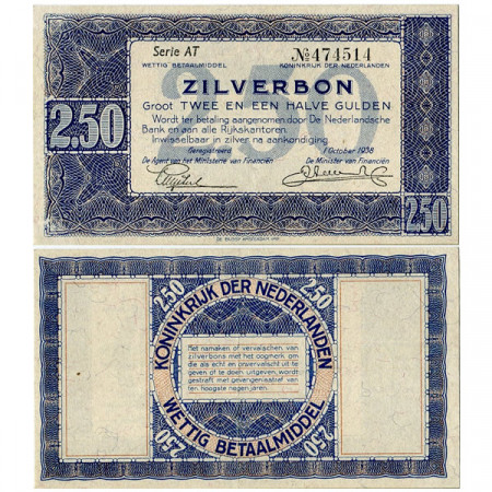 "1938 * Banconota Olanda - Paesi Bassi 2,5 Gulden ""Silver Note"" (p62) SPL"