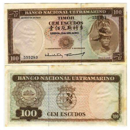 """1963 * Banconota Timor 100 Escudos """"Régulo D Aleixo"""" (p28a) SPL+"""