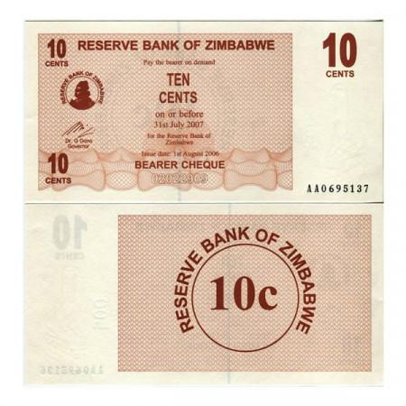 "2006 (2007) * Banconota Zimbabwe 10 Cents ""Bearer Cheque"" (p35) FDS"