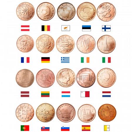 MIX * Lotto 20 x 2 Cents Euro Austria -> Vaticano UNC