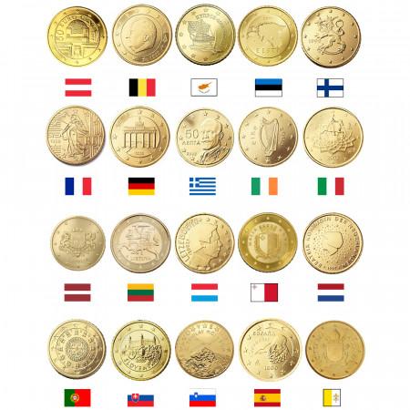 MIX * Lotto 20 x 50 Cents Euro Austria -> Vaticano UNC