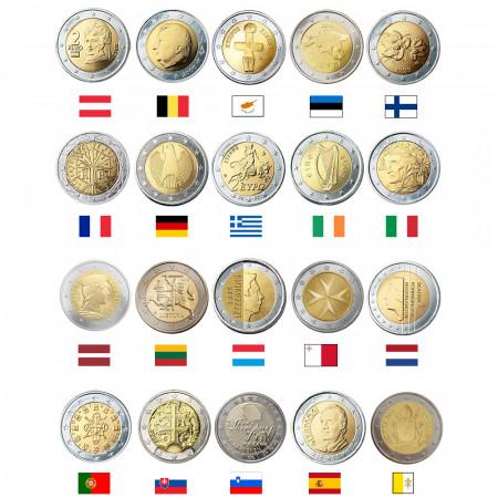 MIX * Lotto 20 x 2 Euro Euro Austria -> Vaticano UNC