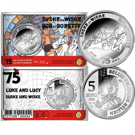 "2020 * 5 Euro BELGIO ""75 Anni Suske En Wiske (Luke And Lucy)"" Coincard FDC"