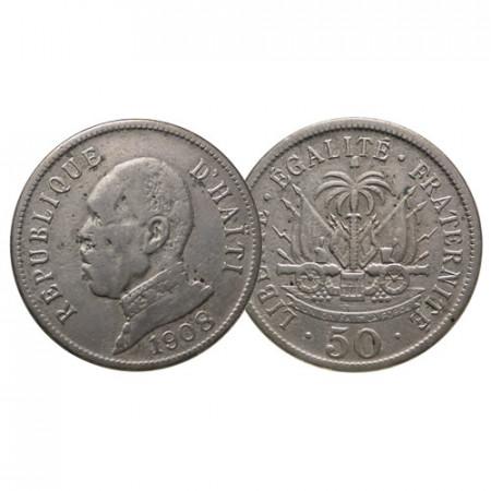 "1908 (w) * 50 Centimes Haiti ""Pierre Nord Alexis"" (KM 56) MB"