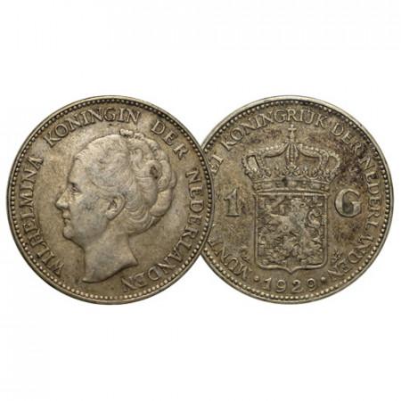 "1929 * 1 Gulden Argento Olanda - Paesi Bassi ""Wilhelmina I"" (KM 161.1) BB"