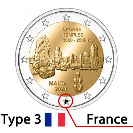 """2020 * 2 Euro MALTA """"Tempio di Scorba - Versione 3, Mark (F)"""" FDC"""