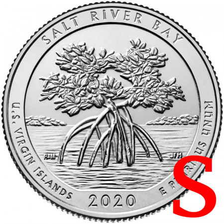"2020 * Quarto di Dollaro (25 Cents) Stati Uniti ""National Park - Salt River Bay, Virgin Islands"" S UNC"