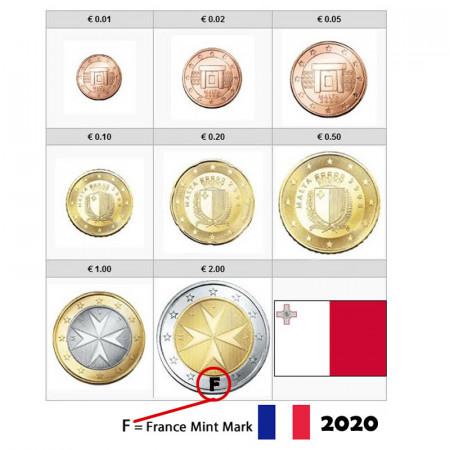 """2020 * Serie 8 Monete Euro MALTA """"F - Zecca Francia"""" FDC"""