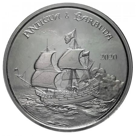 "2020 * 2 Dollars Argento 1 OZ Eastern Caribbean - Antigua e Barbuda ""Sailing Ship"" FDC"