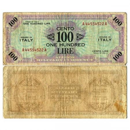 """1943 A * Banconota Italia 100 AM Lire """"Occupazione Americana"""" Bilingue (A 1159 pM21a) MB"""