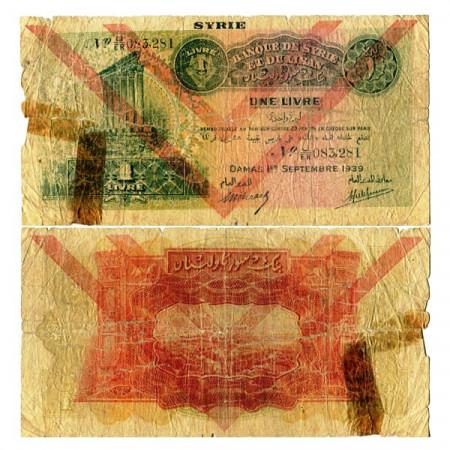 "1939 * Banconota Siria 1 Livre ""Damas - Beyrouth"" (p40e) B-"