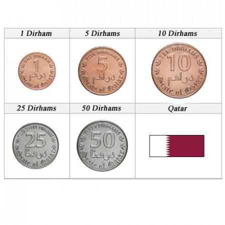 """Anni Misti * Serie 5 Monete Qatar """"Dirham"""" UNC"""